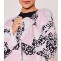 Zibi-London-Pink-Mixed-Print-Fluffy-Long-Cardigan-New-Look