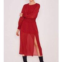 Zibi London Burgundy Animal Print Shirred Maxi Dress New Look