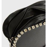 Pink Vanilla Black Heart Diamanté Chain Shoulder Bag New Look