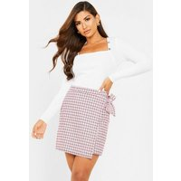 Quiz Clothing Mid Pink Check Wrap Mini Skirt New Look
