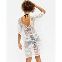 White Floral Embroidered Mesh Beach Kaftan New Look