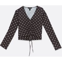 Black Spot Ruched Tie Front Top New Look