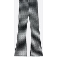 Black Check Flared Trousers New Look