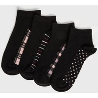 4 Pack Check Spot and Stripe Trainer Socks New Look