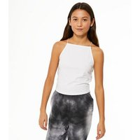 Girls White High Neck Cami New Look