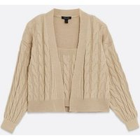 Camel Cable Knit Vest and Cardigan Set New Look