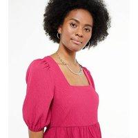 Tall Bright Pink Tiered Midi Dress New Look