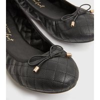 Wide Fit Black Quilted Leather-Look Bow Ballet Pumps New Look