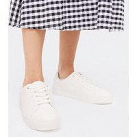 White Quilted Sole Lace Up Trainers New Look Vegan
