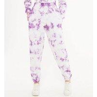 Girls Lilac Tie Dye Cuffed Joggers New Look