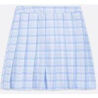 Blue Check Pleated Mini Tennis Skirt New Look