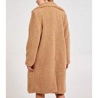 Blue Vanilla Camel Double Breasted Teddy Coat New Look