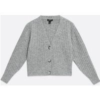 Grey Ribbed Knit Boxy Cardigan New Look