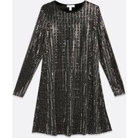 Blue Vanilla Silver Mirrored Sequin Swing Dress New Look
