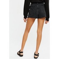 Black Ripped Denim High Waist Mom Shorts New Look