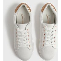 White Canvas Contrast Panel Trainers New Look Vegan