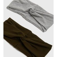 2 Pack Grey and Khaki Ribbed Knot Headbands New Look