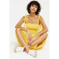 Pale Yellow Tie Strap Shirred Tiered Midi Dress New Look