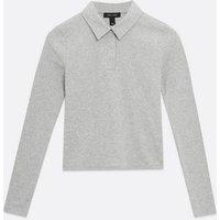 Grey Popper Front Collar Top New Look