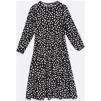 Petite Black Spot Tiered Smock Midi Dress New Look
