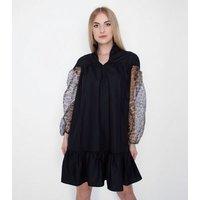 Gini London Black Leopard Print Organza Sleeve Smock Dress New Look