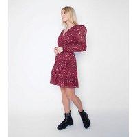 Gini London Burgundy Spot Metallic Wrap Dress New Look