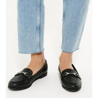 Black Quilted Metal Bar Loafers New Look