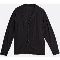 Men's Black Revere Collar Long Sleeve Shirt New Look