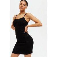 Black Denim Strappy Slip Dress New Look
