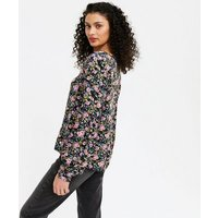 JDY Black Floral Puff Sleeve Blouse New Look