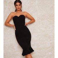 Chi Chi London Black Corset Seam Bandeau Dress New Look