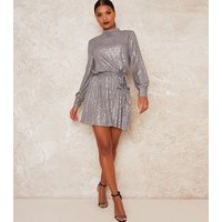 Chi Chi London Silver Sequin Tie Waist Dress New Look