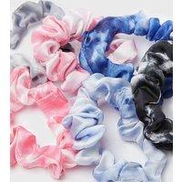 Girls 6 Pack Multicoloured Tie Dye Mini Scrunchies New Look
