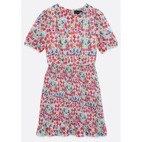 Blue Ditsy Floral Shirred Mini Dress New Look