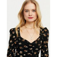 ONLY Black Floral Ruched Front Puff Sleeve Dress New Look
