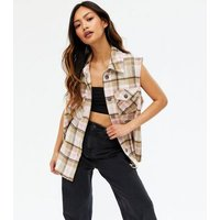 ONLY Off White Check Sleeveless Shirt New Look