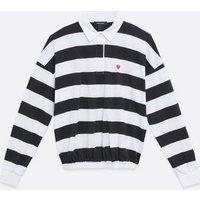 Black Stripe Heart Embroidered Rugby Top New Look
