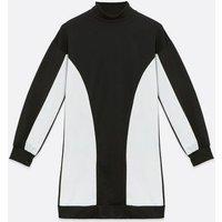 Black Colour Block High Neck Sweatshirt Dress New Look