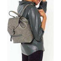 Grey Leather-Look Drawstring Backpack New Look Vegan