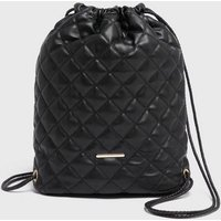 Black Leather-Look Quilted Drawstring Backpack New Look Vegan