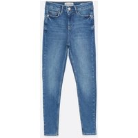 Petite Blue Mid Wash Lift and Shape Jenna Skinny Jeans New Look