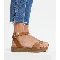 Tan 2 Part Flatform Sandals New Look