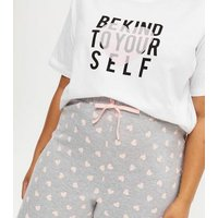 Curves White Heart Be Kind Logo Jogger Pyjama Set New Look