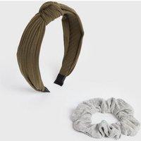 Khaki and Grey Ribbed Headband and Scrunchie Set New Look