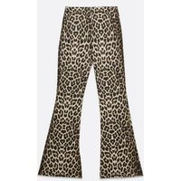 Cameo Rose Brown Leopard Print Flared Trousers New Look