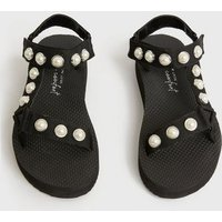 Black Faux Pearl Chunky Flatform Sandals New Look Vegan