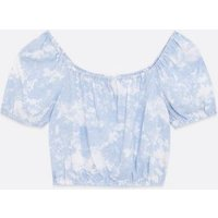Girls Blue Tie Dye Square Neck Top New Look