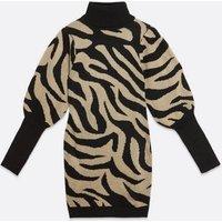 AX Paris Camel Zebra Print Puff Sleeve Jumper Dress New Look