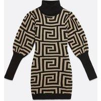 AX Paris Stone Geometric Print Jumper Dress New Look