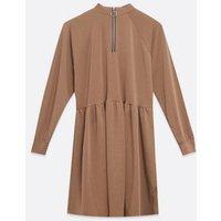 Camel Zip High Neck Smock Dress New Look